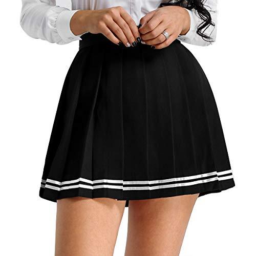 Einheitliche Schule Kostüm Mädchen - iixpin Damen Schuluniform Rock Schulmädchen Outfit Einheitliche Mädchen Uniform Rock Minirock Karierter Rock Faltenrock Cosplay Kostüm Gr.S-XXXL Schwarz Medium