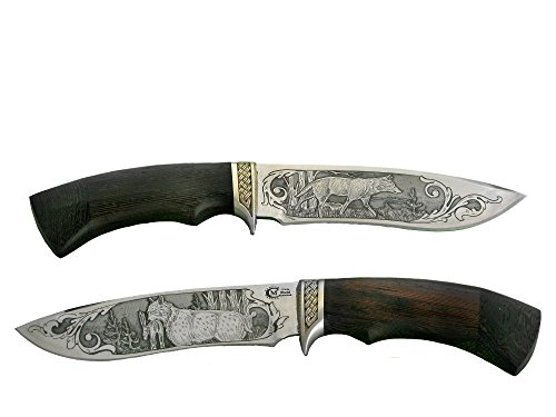 Messer handgemachtes Russisches Outdoor Jagdmesser Gürtelmesser -SK- mit Klinge aus Edelstahl, Wolf-Luchs-Gravur, edlem Holzgriff und Lederscheide, hochwertige Handarbeit aus Russland.