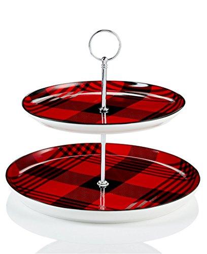 Martha Stewart Collection 2-stöckiger Server rot und schwarz kariert -