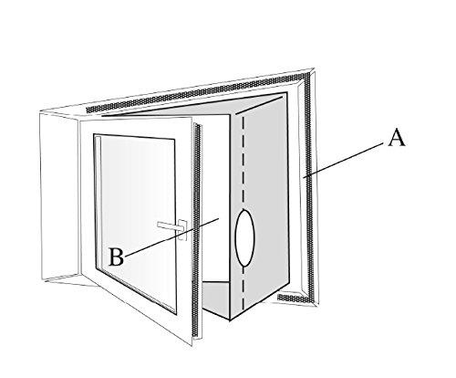 SUNTEC Air-Block-Klima Sail [Zubehör-Set für mobile lokale Klimageräte, Praktisches Segel zur Abdichtung von Fenstern/Türen inklusive Reißverschluss-Öffnung, Einfache Fixierung + Rückstandslose Entfernung] - 3