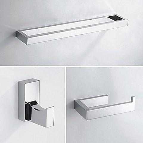 ZDQ- 3 pcs sets de accesorios de baño, material de bajo acabado cromado, juego de colección de baño