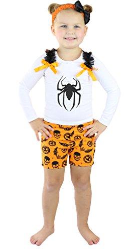 petitebelle Halloween Spider weiß L/S SHIRT Kürbis orange kurz Set nb-8y Gr. 4-5 Jahre, (Spider Girl Tutu)