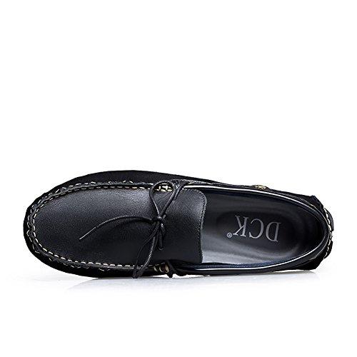 Ommda Homme Mocassin Pantoufle Loafer Chaussures en Cuir Plat Nior