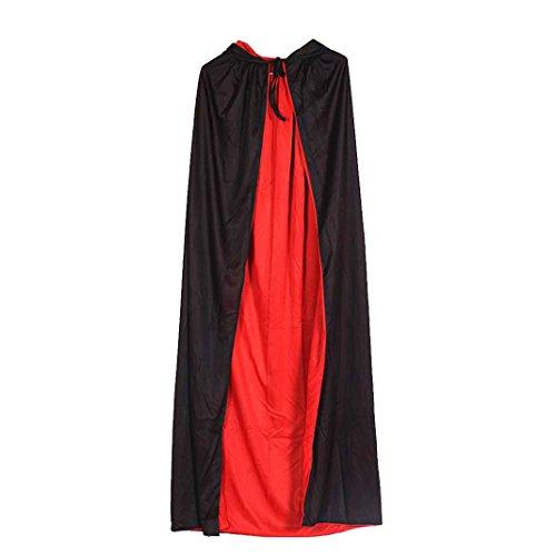 Halloween schwarz und rot mit Hutmantel, Asnlove Hexenmantel Vampir passt Tanzkleid en Doppel Umhang, (Halloween Lustig Kostüme Doppel)