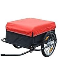 Homcom 5550-3432Remorque de vélo TailleM Rouge
