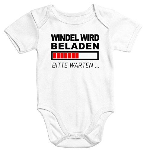 MoonWorks lustiger Baby-Body Windel Wird beladen Bio-Baumwolle Kurzarm Aufdruck weiß 3-6 Monate