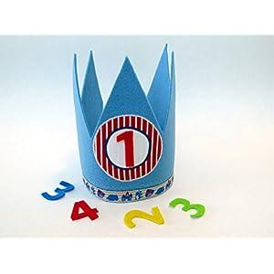 Geburtstagskrone in blau mit 3 auswechselbaren Zahlen und Gummizug / Einheitsgröße
