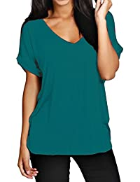 Funky Boutique Damen lange schulterfreies Einfach Batwing Top Größe 44-54: Farbe - Blaugrün: Größe - 16-18 LXL