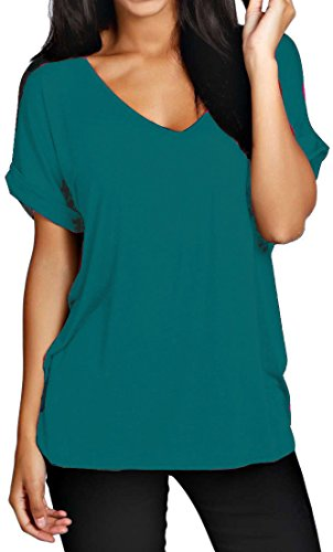 Hot Hanger Womens Oversized Baggy Loose Fit Turn up Batwing Sleeve Tunic Top T Shirt UK 8-28 (8-10 (SM), Teal)