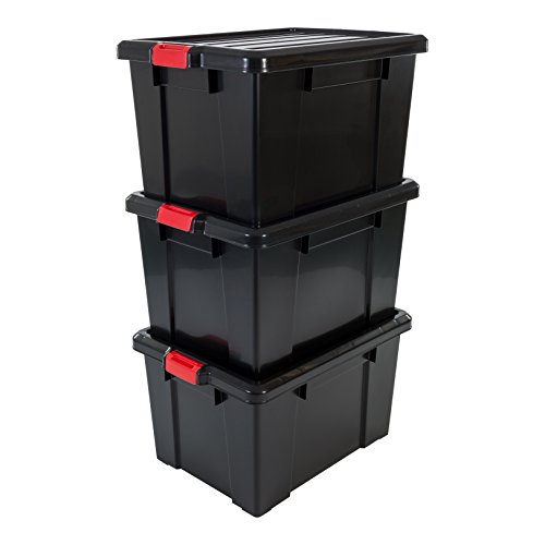 IRIS, 3er-Set Aufbewahrungsboxen \'Power Box\', SK-700, mit Klickverschlüssen, Plastik, schwarz, 68 L, 63,5 x 44,6 x 35,9 cm