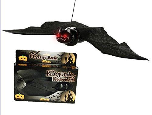 n Horror Fledermaus saust an Schnur im Kreis Flügel flattern und Augen leuchten inclusive Markenbatterien (Mumie Maske Halloween)
