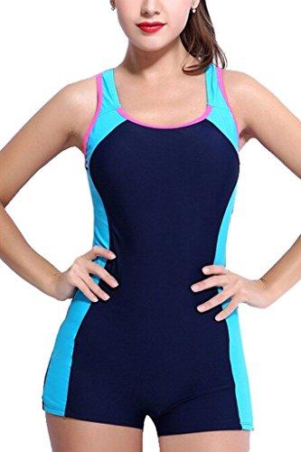 CharmLeaks Womens One Piece Swimsuit Boyleg Swimwear Sports Boy short Swimming Costume Blue