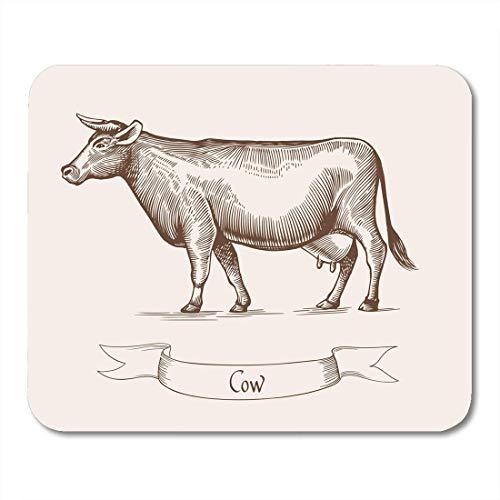 Luancrop Mausunterlage Kuh des Viehs im Vintagen Stich-Aufkleber, der Mousepad für Notizbücher, Tischrechner-Mausunterlagen, Büroartikel darstellt (Stich-aufkleber)