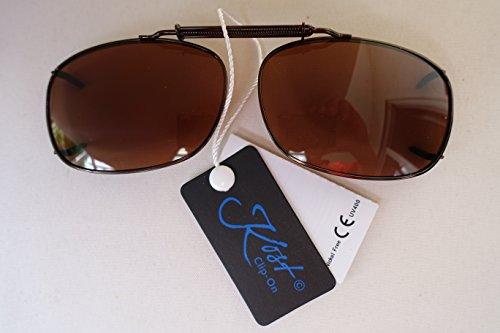 GKA Aufsatz Sonnenbrille für Brillenträger Sehstärke Clip Brillenaufsatz Sonnenbrillenaufsatz Sonnenbrillenclip Clip On Zwicker Gestell kupfer Glas braun