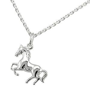 Kette mit Pferd Anhänger 925 Silber Weiß Pferdeanhänger Schmuckset 10440/42+7207