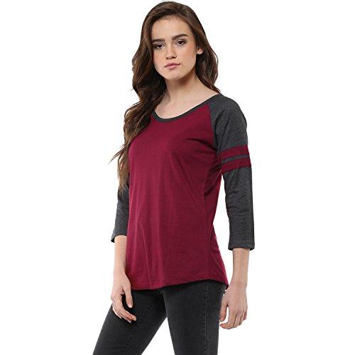 Veirdo Women's Raglan Full Sleeve T-Shirt - TSH_MAROON_MILANGE_GIRL_L