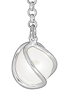 CLEVER SCHMUCK-SET Silberner Anhänger mit Perle Ø 10 mm weiß umschlungen im Silberkäfig am Verlängerungskettchen...