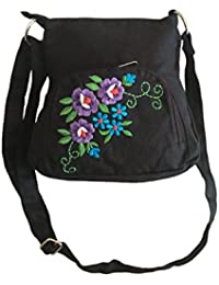 Fly Angels Women's Sling Bag With Embroidery ( Black)