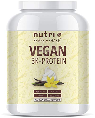 Protein Vegan Vanille 1kg | 84,6% Eiweiß | 3k-Proteinpulver | Nutri-Plus Shape & Shake | Low-Carb Eiweißpulver ohne Lactose & Milcheiweiß | In Deutschland hergestellt - Vegane Soja-protein