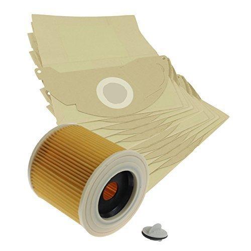 Preisvergleich Produktbild Vacspare Papierstaub Beutel & Rund Filtereinsatz für Karcher MV2 Staubsauger