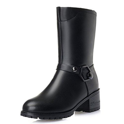 GTYW Ladies High Heels Stivali Da Donna Ladies Winter New In Boots Thick Con Velluto Cotton Shoes Wool Stivali Da Donna Wild Warm Cotton Boots Da Donna BlackWool