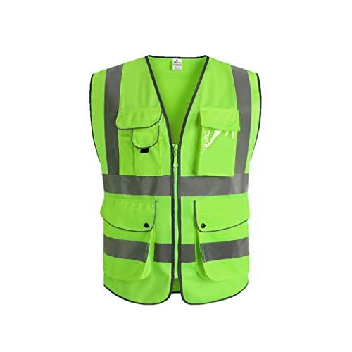 LHOME Hallo Viz Vis Weste Mesh Warnwesten Reflektierende Sicherheitsweste mit Mehreren Taschen Kleidung Reflektierende Weste Verkehr Reiten Sicherheitskleidung Weste (Farbe : Green, Size : L)