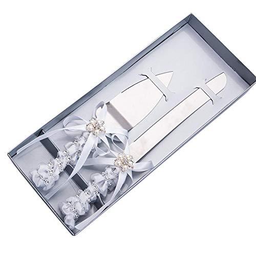 winnerruby Hochzeitstorte Messer Server Set Seide Rose Band mit Perle Schmetterling Bogen Stil Elegante Edelstahl Kuchen Server Kuchen Cutter Server Set 2pc