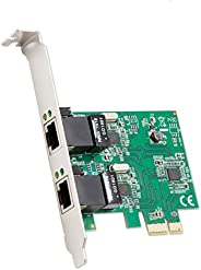 Syba Dual Port Gigabit Ethernet PCI Express 2.1 PCI-E x1 Network Adapter Card (NIC) 10/100/1000 Mbps Card with