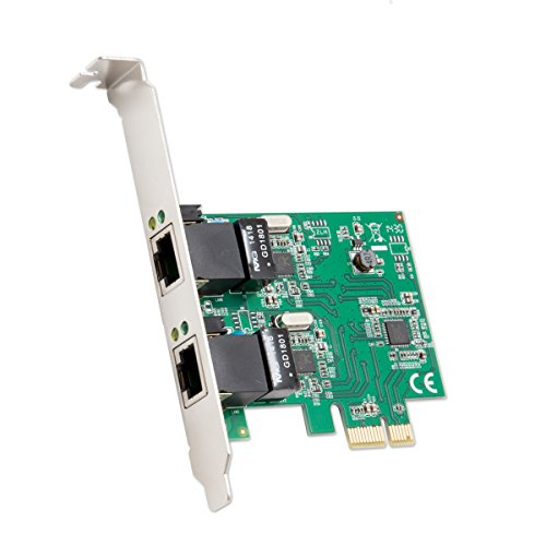 Syba 2Port Ethernet PCIe X 1Karte mit Chipsatz und Low Profile Klammern