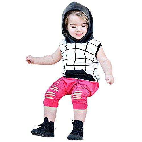 UFODB Babykleidung Mädchen Gitter Mit Kapuze Weste Tanktop Crop Tops + Loch Hose Kinderbekleidung Set Kinder Kleidung Sommer Outfits