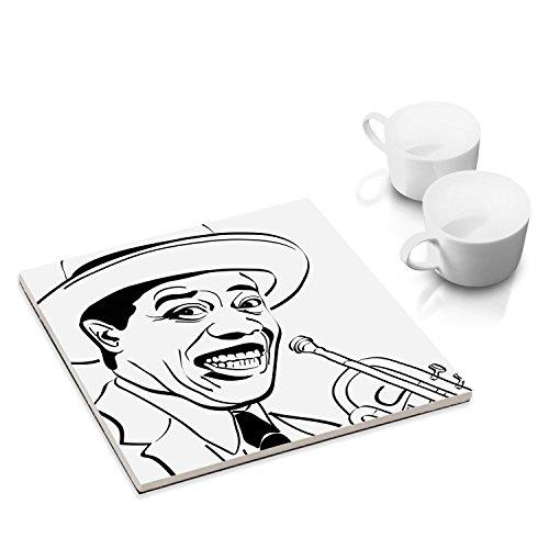 Dessous-de-plat céramique pour la table où la cuisine - 15 x 15 cm - Musiciens bien connues: Louis Armstrong