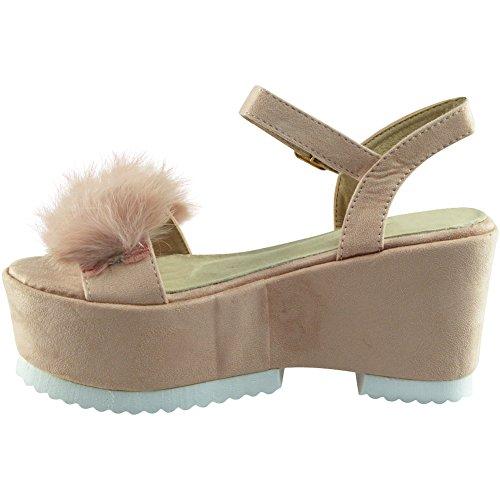 Nuovo Da donna Cinturino alla caviglia piattaforma Faux Suede Pelliccia Cuneo Sandali Dimensione 35-41 Rosa