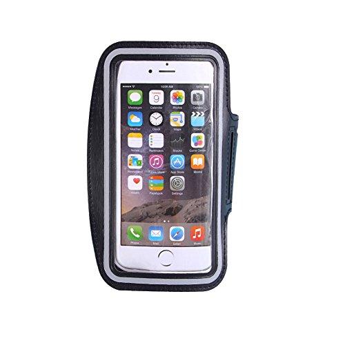 JAKEY® Wasserdichte Gymnastik-Sport-laufende Armbinde-Arm-Band 4-6 Zoll Telefon-Beutel-Kasten-Abdeckungs-Halter für iPhone 4 4S 5 5S 5C SE 6 6S Plus 7 7Plus (M, Schwarz)