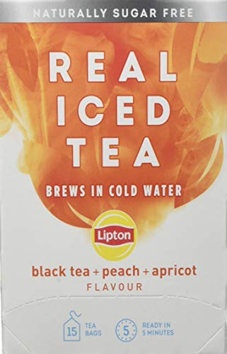 Lipton Real Peach and Apricot Black Iced Tea Bags, 15 Tea Bags, Pack of 5