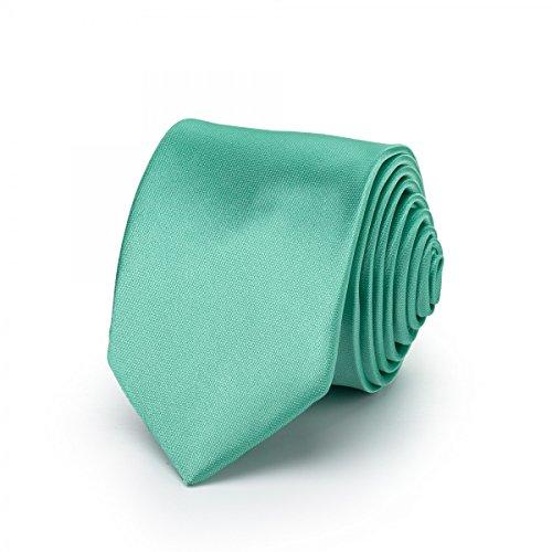 Rusty Bob - Krawatte schmal/dünn 3cm-5cm für Herren [auch für Kinder/Jungen] (uni,nicht gestreift) aus Polyester glänzt wie Seide - Mintgrün