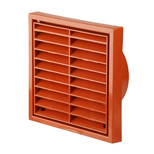 Terracotta Square Louvre Air Vent Duct Grille Extractor Wall Fan 4 Inch 100mm by SmartHome (Air Vent Duct)