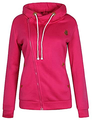 ELFIN® Femme Manteau Veste à Capuche Hoodie Sport Sweat shirt Casual Zip Jumper Sport Hauts Tops Neck pleine