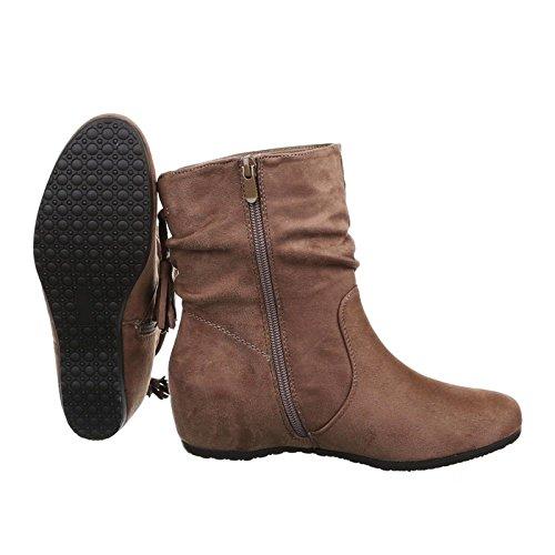 Damen Stiefeletten Keilabsatz Stiefel Boots Schuhe JA31 Khaki