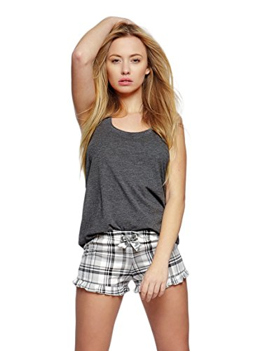 Grau Kariert Shorts (SENSIS wunderschönes Nachtwäsche-Set aus niedlichem Baumwoll-Shirt und koketten Shorts, anthrazit/kariert, Gr. S+S/M)