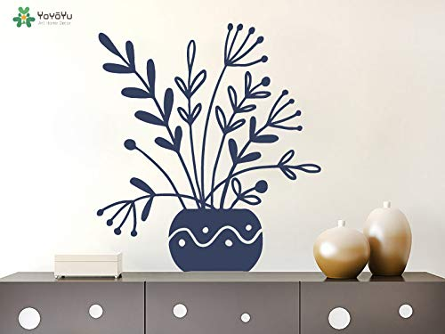 zhuziji Wall Decal Flower Leaves Vase Pattern Vinyl Wall Stickers for Kid Room Nursery Family Home Decor Art Mural Removab 86x95cm -