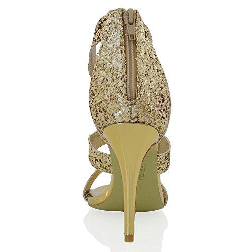 Hohen Stiletto Fasselriemen Damen Peep Gold Sandalen Glam Toe Absatz Schnalle Essex Glitzerstaub Z1xYEnw1