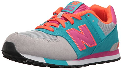 New Balance Unisex-Kinder 574 Cut and Paste Sneakers Mehrfarbig (Grey/turquoise)