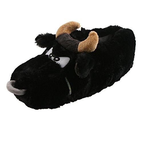 Tierhausschuhe Damen Plüsch Hausschuhe Elch Bulle Stier Ochse Kuh Pantoffel Schlappen Slipper Puschen Kinder 37-41, TH-EBSSB Stier