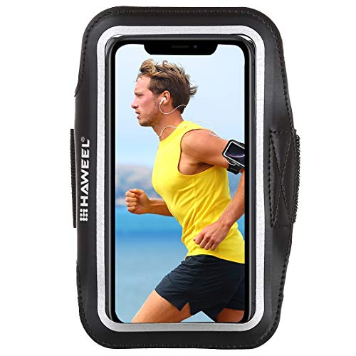 Sportarmband Universal Sport Armband für jedes Handy, iPhone, Android Smartphone, MP3-Player, iPod Armtasche Touch-Funktion 17-26cm Umfang wasserabweisendes Neopren und Nylon, Tasche mit Schlüsselfach