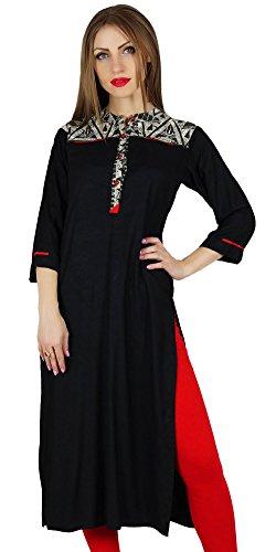Bimba Frauen Gerade Schwarz Kurta Kurti w/Kontrast Joch Klassische Indische Kleidung - Kontrast-joch