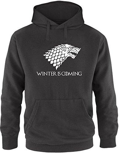 EZYshirt® Game of Thrones | Winter is coming | Schattenwolf Herren Hoodie Schwarz/ Weiß