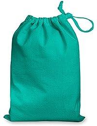 Bolsa con cierre de cordón, 100% algodón, color turquesa, tamaño mediano, 25 x 35 cm
