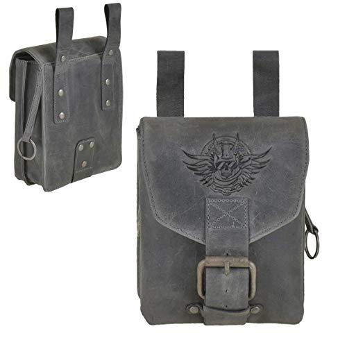 Greenburry Biker Gürteltasche Leder Bauchtasche Hüfttasche Tasche Rolf Vintage schwarz 2 Fächer groß