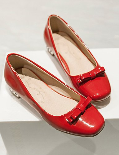 ZQ Scarpe Donna - Ballerine / Mocassini - Matrimonio / Formale / Casual - Punta squadrata - Quadrato - Finta pelle - Nero / Rosso / Bianco , red-us5.5 / eu36 / uk3.5 / cn35 , red-us5.5 / eu36 / uk3.5  black-us8.5 / eu39 / uk6.5 / cn40
