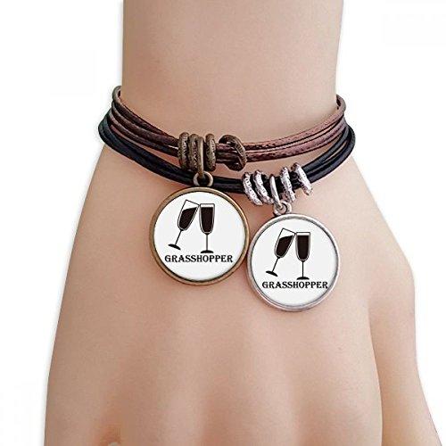 DIYthinker Damen Silhouette of Grass Hopper Cocktail Armband Doppel-Leder-Seil-Armband Paar Set -